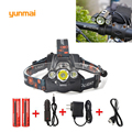 Headlamp Led lighting Head Lamp Torch T6+2Q5 LED Headlight Camping Fishing Light +2*18650 battery+Car EU/US/AU/UK charger+1*USB