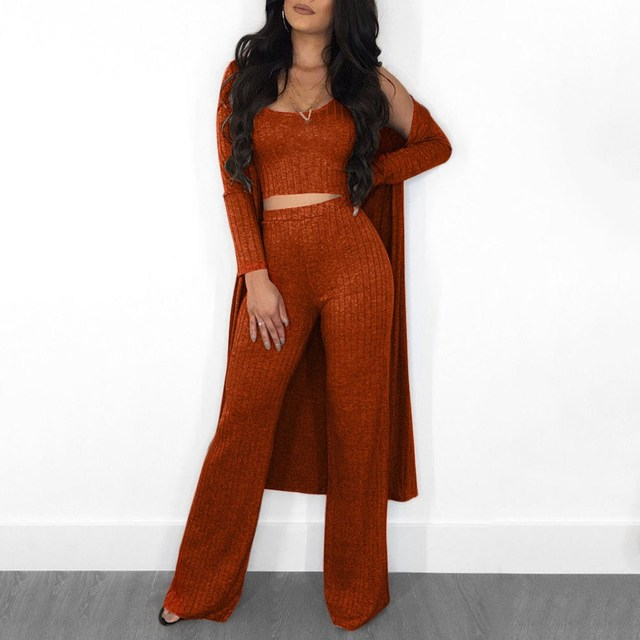 c43784746 Autumn Winter Women Ribbed Knit 3 Piece Set Full Sleeve Long Coat Crop Top  Wide Leg Pants Sets Casual Outfits