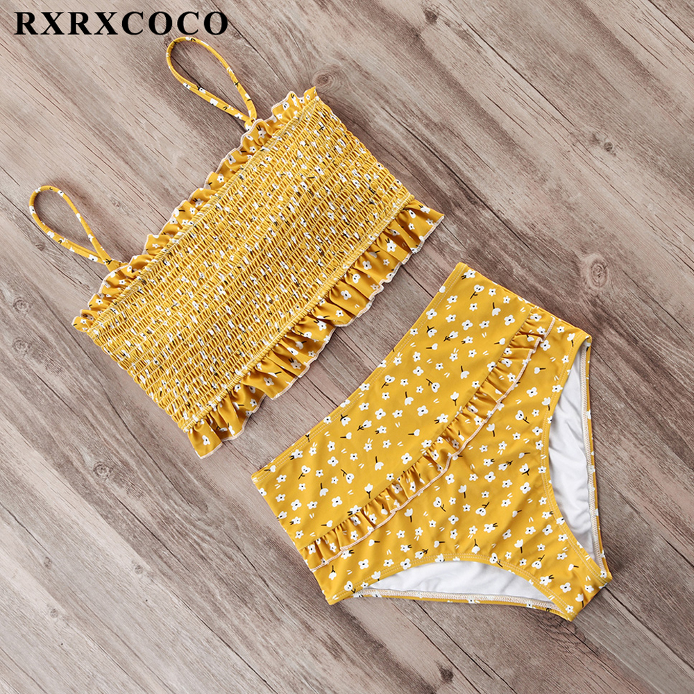 RXRXCOCO Smocking Swimwear Women Bikini Swimsuit Bandeau Ruffle Bikini Set Push Up High Waist Bathing Suit Women Beach Wear