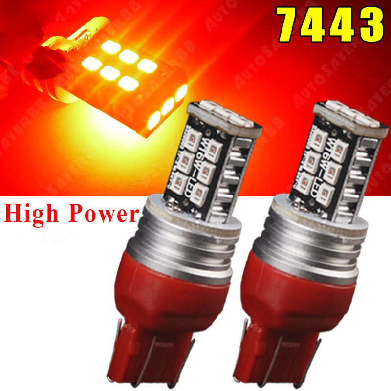 CYAN SOIL BAY 2X 7443 7440 T20 2835 High Power 15W 15 SMD Pure Red Tail Brake Stop LED Light Lamps 7444NA 7441 Bulb
