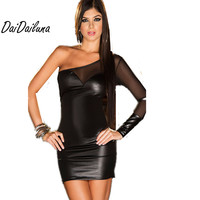 New Women Sexy Lingerie PU Leather Rubber Flexible Club Wear Open Crotch Luru Halter Backless One