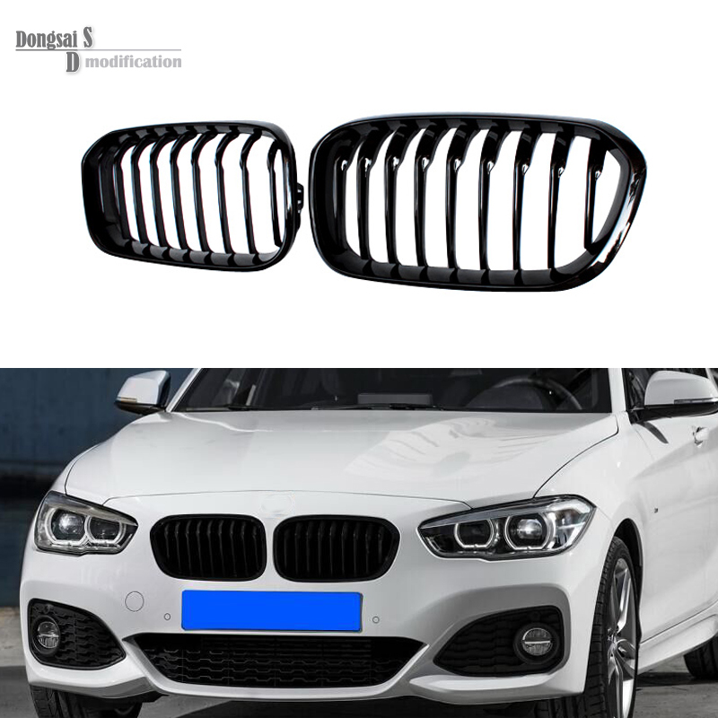 High quality ABS material front bumper grille grills for BMW 1 series F20 LCI grill F21 2015 + 116i 118i 120i 135i gloss black front dual line grille grill for bmw f20 f21 1 series 118i 2010 2011 2012 2013 2014