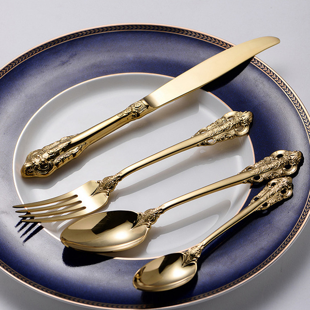 Stainless Steel Cutlery Gold Plated Dinnerware Set Western Xmas Flatware Golden Dinner Knives Fork Spoon Teaspoon Sets