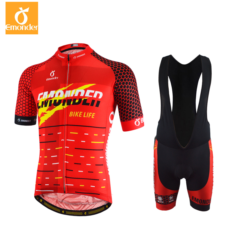 EMONDER Men cycling jersey 2018 pro team Summer Short Sleeve Sets 12D Pad Breathable Bicycle cycling clothing Ropa Ciclismo
