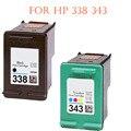 Hisaint Список Лучший Горячая Для HP 338 Черный & 343 Трехцветный Восстановленные Картриджи Для принтеров Для использования с Для HP Photosmart