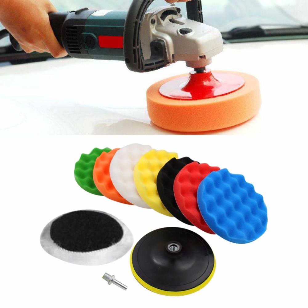 цена на 10 Pcs Car Polishing Pads Car-Styling Sponge Polishing Buffing Waxing Pad Kit For Car Polisher Buffer With Drill Adapter