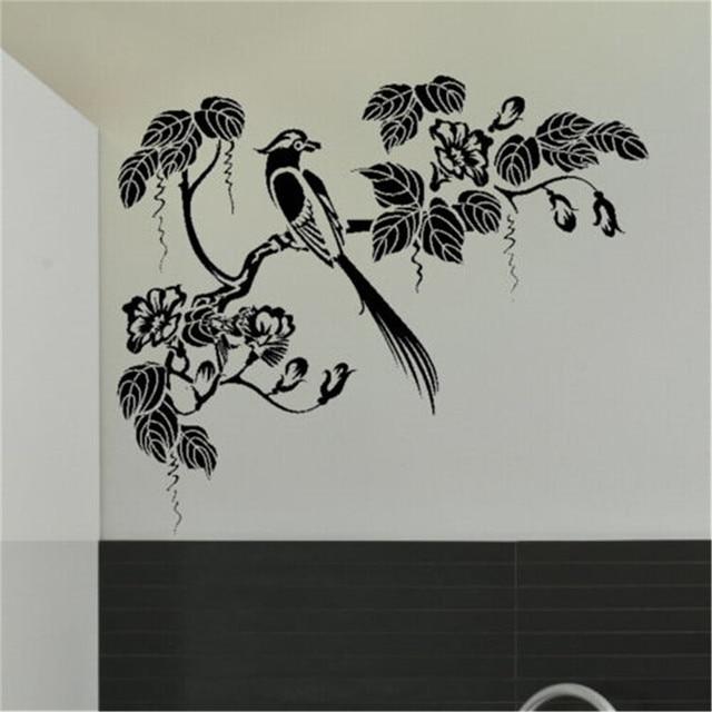 Stile Orientale Albero Uccello Wall Sticker Decal Art Trasferimento