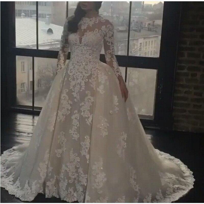 cuello redondo de manga larga de la boda vestido de noiva casera se cas con vestido de novia con vestido de matrimonio rt