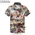 100% Camisas de Vestir de Algodón Hombres Floral Slim Fit Fresco Varón Verano delgado Camisas de Manga Corta Marca de Moda Blusas Tallas grandes 5XL S183