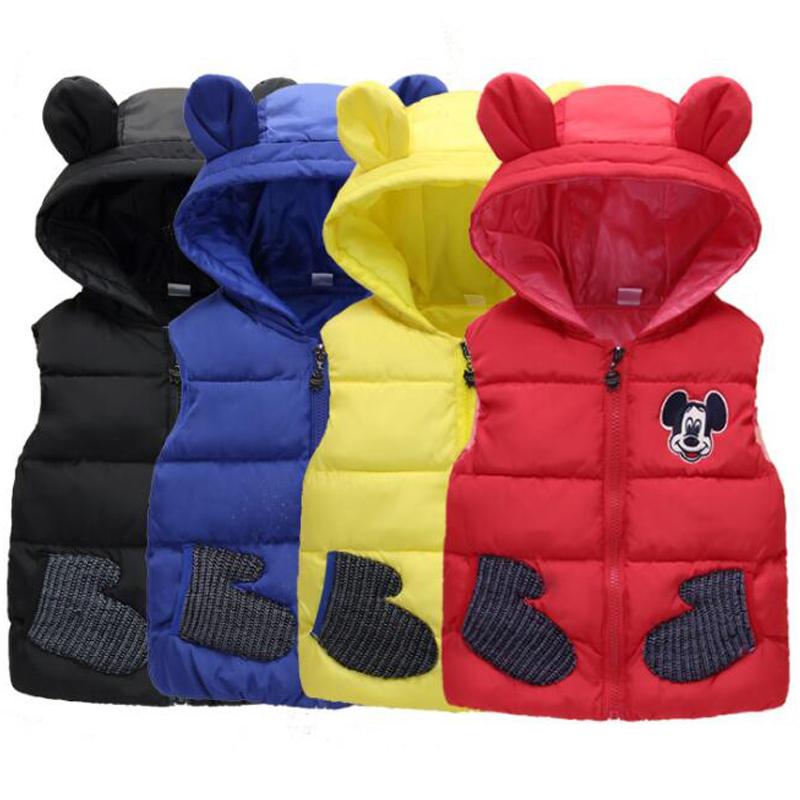 Baby Girls Boys High Quality Parkas Vest Coats Children Clothes Down Jacket Kids Vests Cartoon Giraffe Mickey Minnie Outerwear