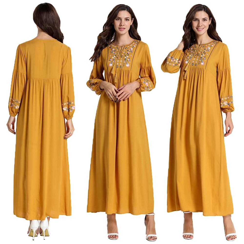 Abaya Kaftan Muslim Bordir Long Dress Gamis Arab Islam Pihak Gaun
