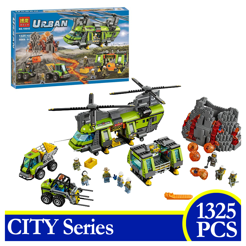 10642 City Series Volcano Supply Helicopter Geological Prospect Building Blocks Bricks Children Gift Compatible With LEPIN 60125 356pcs city volcano supply helicopter 02004 police model building blocks assemble bricks children toys sets compatible with lego