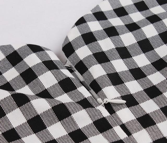 Short Sleeves Midi Dresses Casual Vintage Plaid  Retro Pleated Dress 6