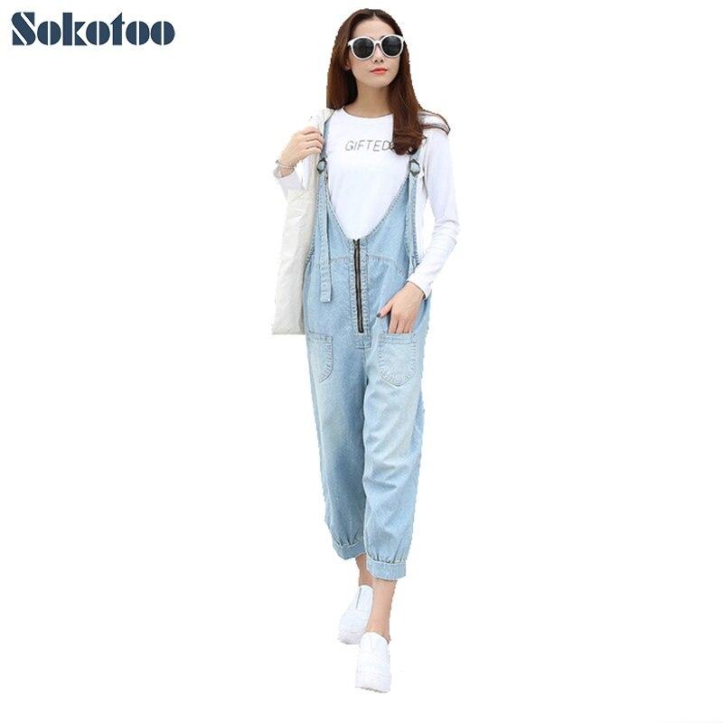 Sokotoo Women s casual loose zipper calf length denim bib overalls Fashion harem pants Jumpsuits Jeans