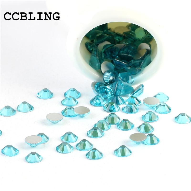 CCBLING Crystal Aquamarine ss3-ss30 bag Nail Rhinestones Flat Back Non Hotfix Glitter Nail Stones,DIY 3d Nail Phones Decorations