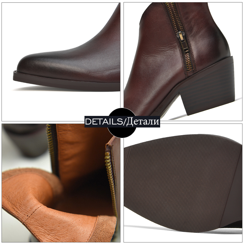 Модные черные женские сапоги из натуральной кожи с молнией спереди и круглым носком на высоком квадратном каблуке зимние высокие сапоги до ... - 6