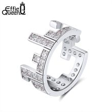 Effie Queen Women Rings Unique Tetris Design Perfect Polished AAA Zircon Trendy Silver Party Ring Fashion Jewelry Gift DR173(China)