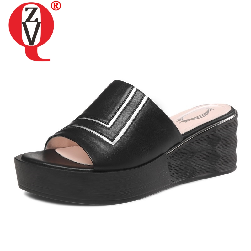ZVQ hot sale shoes woman 2019 summer new concise causl genuine leather woman slippers outside high