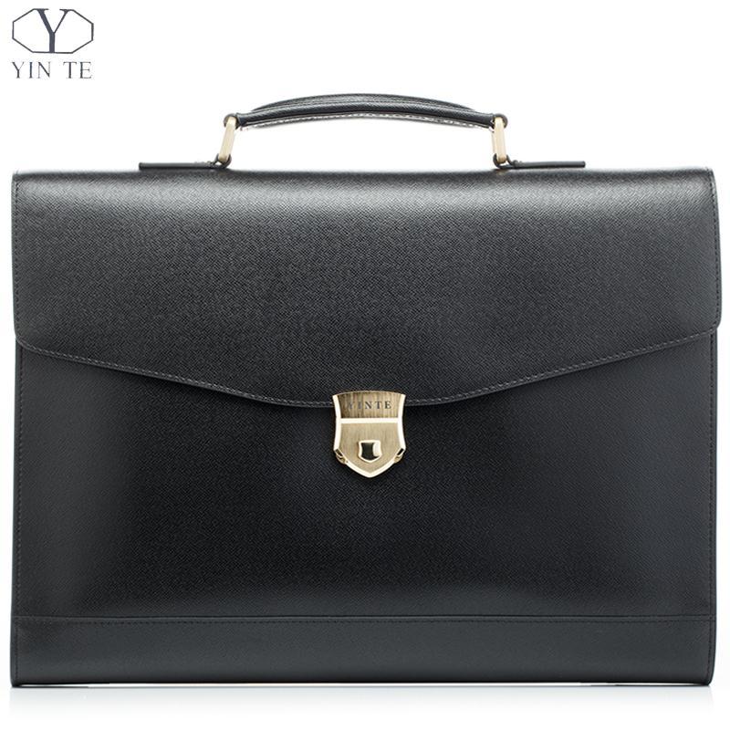 YINTE Fashion Leather Men's Briefcase Black Bag Laptop Briefcase Lawyer Document Handbag Teacher Bags Portfolio Totes T8570-4 цена и фото