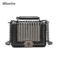 DIINOVIVO Brand Luxury Leather Women Handbag Punk Style Rivet Tote Designer Female Diamonds Flap High Quality Gift Bags WHDV0320