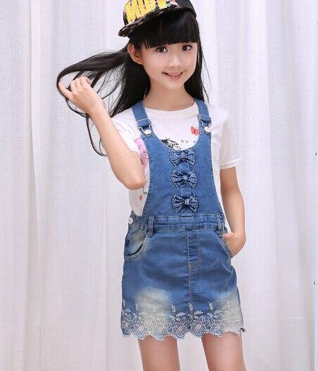 2016 осень детская одежда девушки общая юбки причинно девочка ремешок юбки для девочек большие дети джинсовые короткие юбки