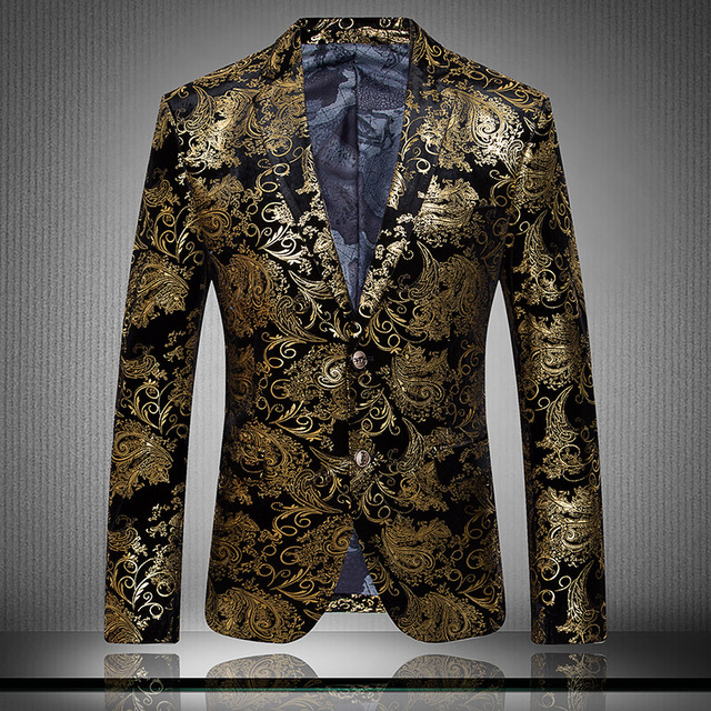 Personalized Single Suit Jacket Slim Flower Print Velvet Suit Mesmerizing Patterned Suit Jacket