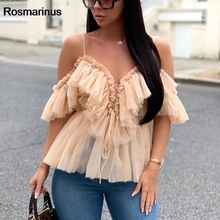 цена на Off Shoulder Womens Tops And Blouses Summer 2019 Deep V Neck Backless Sexy Strap Peplum Top Ruffles Mesh Blouse Shirt Blusas