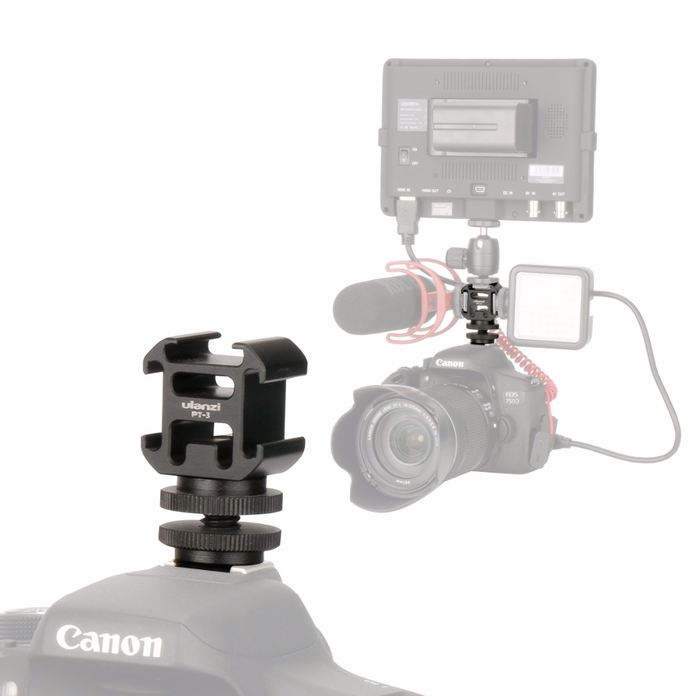 Ulanzi Triple Hot Shoe Camera Mount Three Cold Shoe Mount Bracket Tripod Stand for Canon DSLR Video Microphone Led Video Light