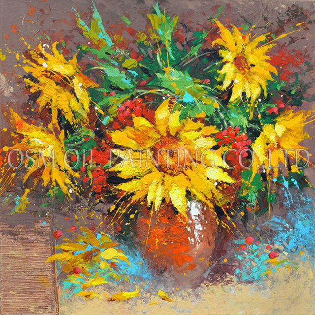 High Skills Artist Hand painted Impression Sunflower in Vase Oil ...