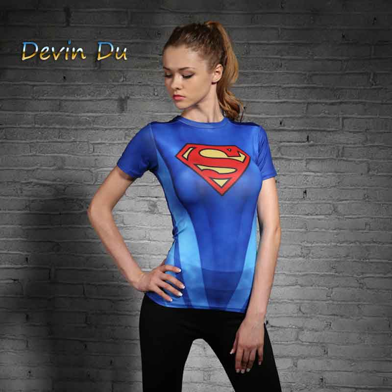 CLOTHING WOMEN T-SHIRT BODYS SUPERMAN/BATMAN T SHIRT SHORT SLEEVE FITNESS TIGHTS GIRL Anime COMPRESSION TSHIRTS