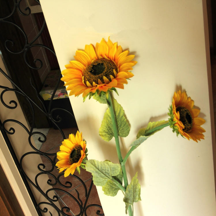 120cm large 3 head silk artificial sunflowers decorative flowers home decor wedding decoration free shipping - Sunflower Decorations