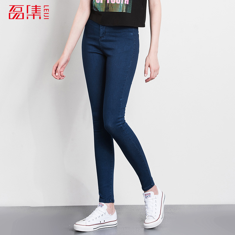Leijijean jeans with high waist Fashion Jeans women Elastic S-6XL Plus Size Women Denim skinny Pencil Pants  full length trouser 2017 new jeans women spring pants high waist thin slim elastic waist pencil pants fashion denim trousers 3 color plus size