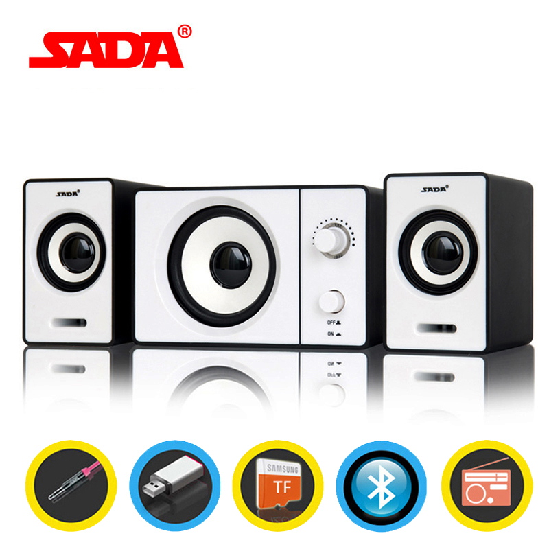 SADA D-200D Bluetooth Computer Speaker Stereo Portable Multimedia Laptop USB Speaker TF/U Disk Bass Gun Support AUX Input ...