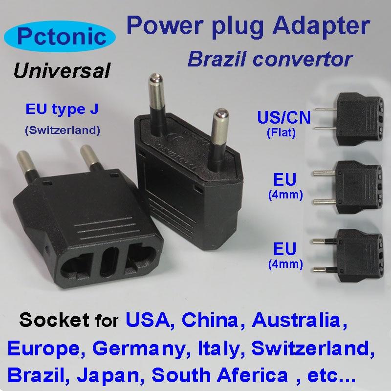 PCTONIC Brazil Power Adapter Switzerland Europe Travel Type J Leg Plug Converter To EU China AC America USA Socket Adapter