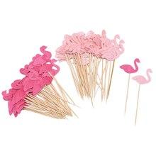 20 piezas pastel de flamenco Cupcake Topper recoge banderas para pastel niños bebé ducha pastel de boda cumpleaños decoración Flamingo fiesta suministros