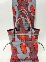 (3 шт./компл.) высокое качество Анкара отпечатки в серый и коралловый красный с африканскими сумка и кошелек в африканском стиле Вечерние июл