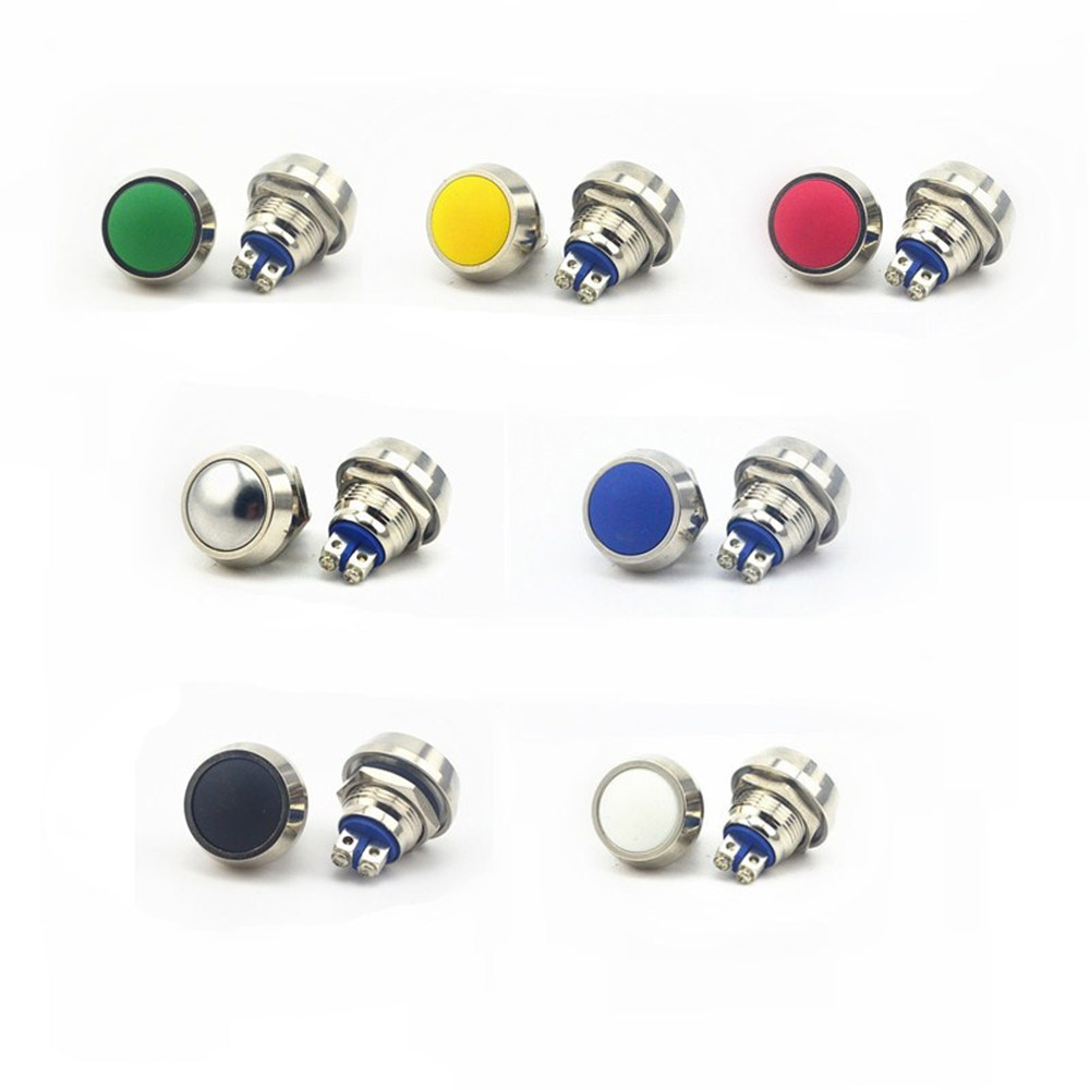 цена на 12mm Momentary Push Button Switch Colored switches Spherical Stainless Steel Car Modification Horn Doorbell Switch