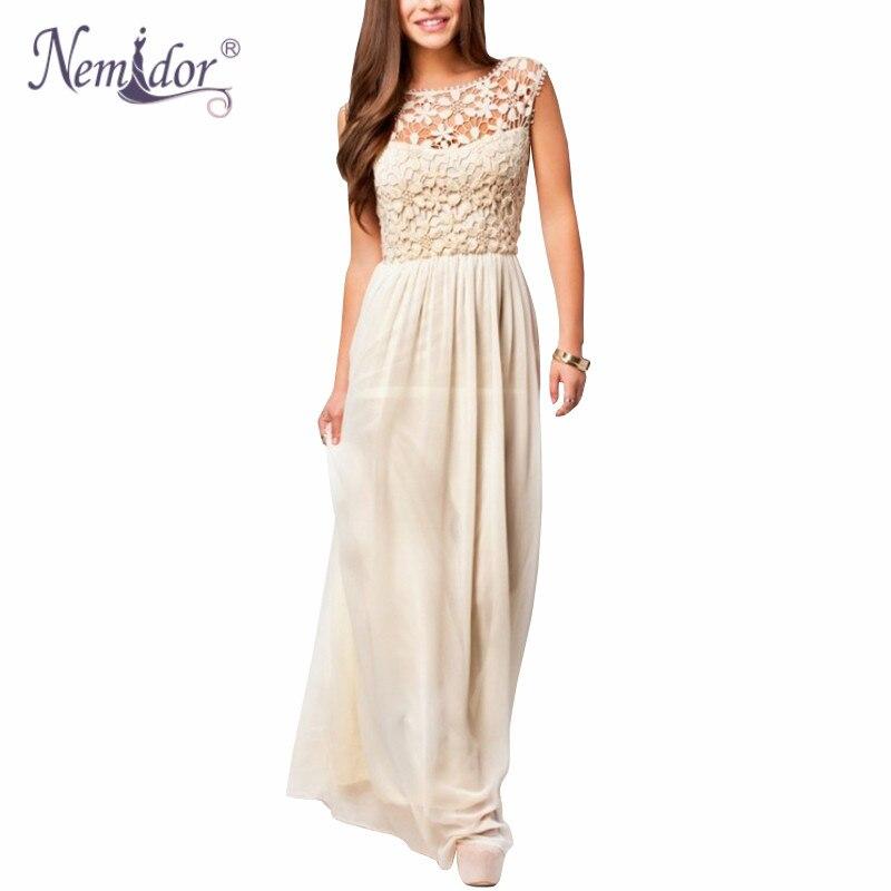 Nemidor Hot Sales Women Sleeveless Crochet Chiffon Casual Long Summer Dress Plus Size 5XL Sexy Backless Lace Party Maxi Dress