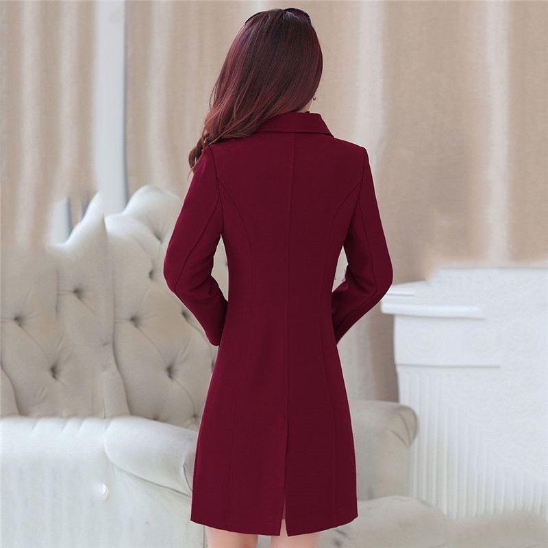 Trench Style Femelle Coupe vent Mi Slim X23 Pardessus noir Outwear Élégant Size Hiver 4xl wine Red Coréenne Revers Pocket Femmes Automne Bai Plus wXCqqI