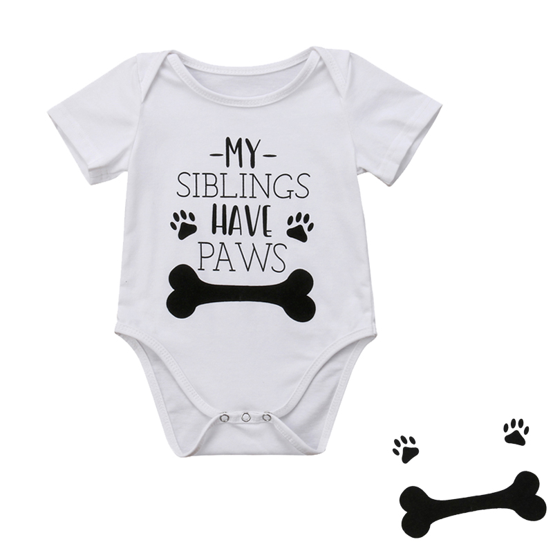 DERMSPE New Summer Newborn Baby Boys Girls Short Sleeve Letter Print My Sibling Have Paws Romper Jumpsuit Baby Clothes