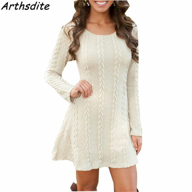 Arthsdite Women Causal Plus Size S-5XL Short Sweater Dress Female Autumn  Winter White Long Sleeve Loose Knitted Dresses Vestidos be6e3c569