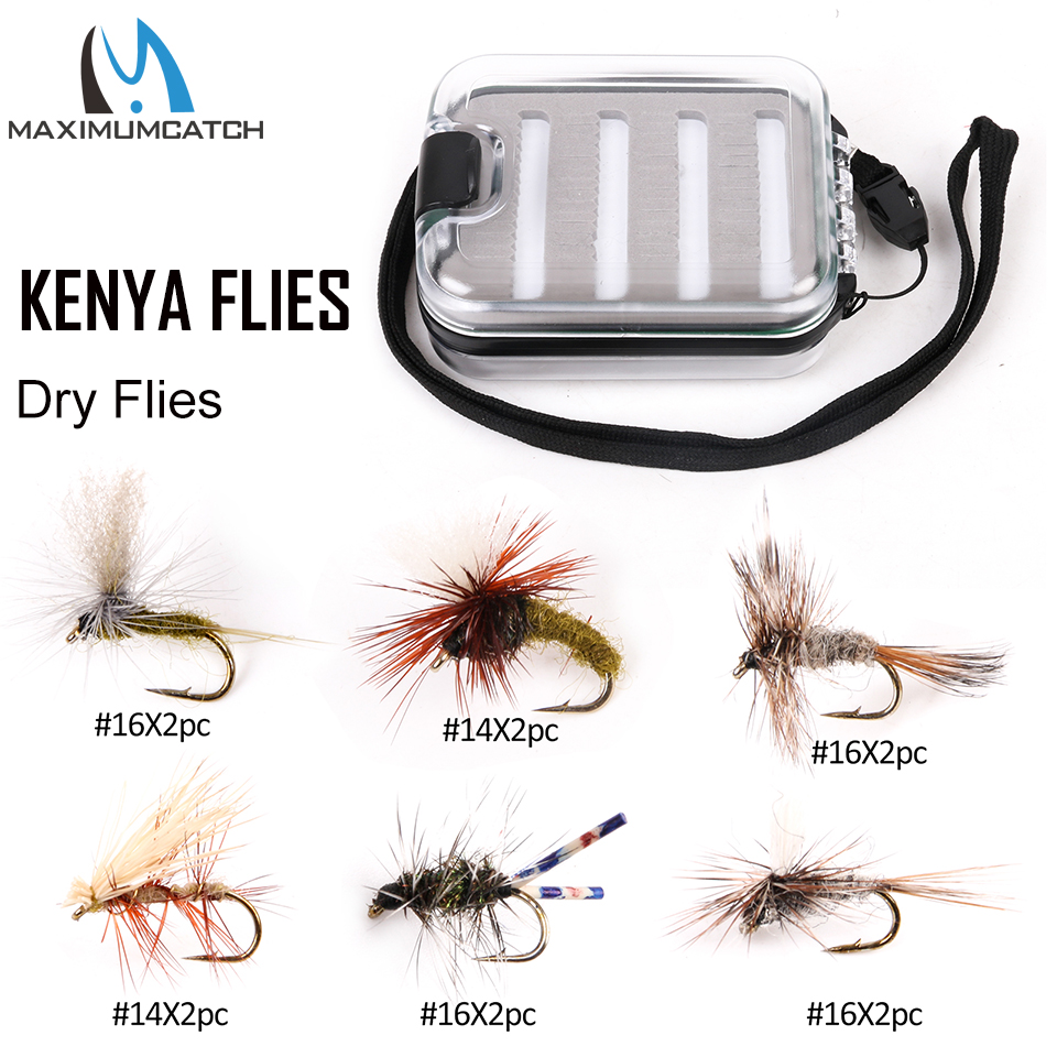 Maximumcatch 12-32 pcs Lalat Fly Kenya dengan Peti Memancing Hand-Selected Hackle 9 Pelancaran Fly Fly