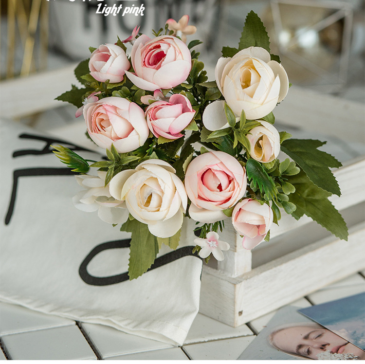 10 Heads Bouquet Rose Decor Artificial Flower Home Decor Imitation Fake Flower for Garden Plant Desk Decor Hand-Holding Flower (8)