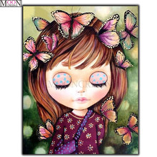 DIY 5D Diamond Painting Cross Stitch Beautiful Butterfly On Girls Head Embroidery Square Drill Mosaic Decoration