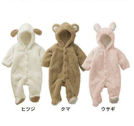 Outono Inverno Roupas de Bebê de Manga Longa Romper Do Bebê Quente de Pelúcia Estilo Animal Bebê Recém-nascido Menino e Menina Roupa Bonito Do Bebê Jumpsuits