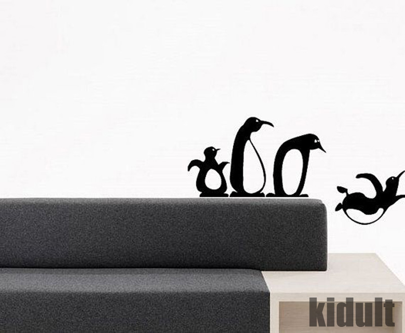 Penguins Home Life Creative Wall Stickers Decorative Wallpaper Wallpaper Animal Penguin Black White Vinyl Wall Stickers