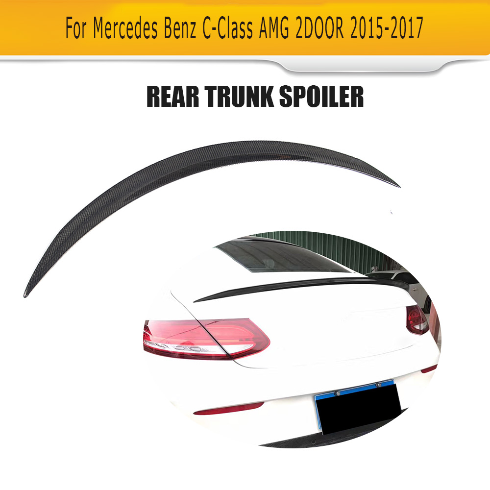 C Class Carbon fiber Rear Boot Lip Spoiler Wing for Mercedes Benz W205 C63 AMG Coupe 2 Door 15-17 O Style
