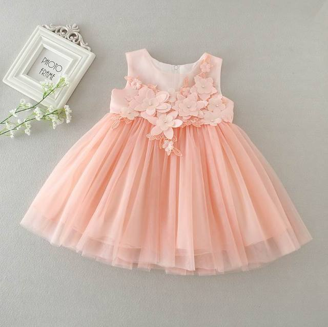 Aliexpress buy baby girl first birthday dress flowers pink baby girl first birthday dress flowers pink tulle princess dress for wedding party children clothing 0 mightylinksfo