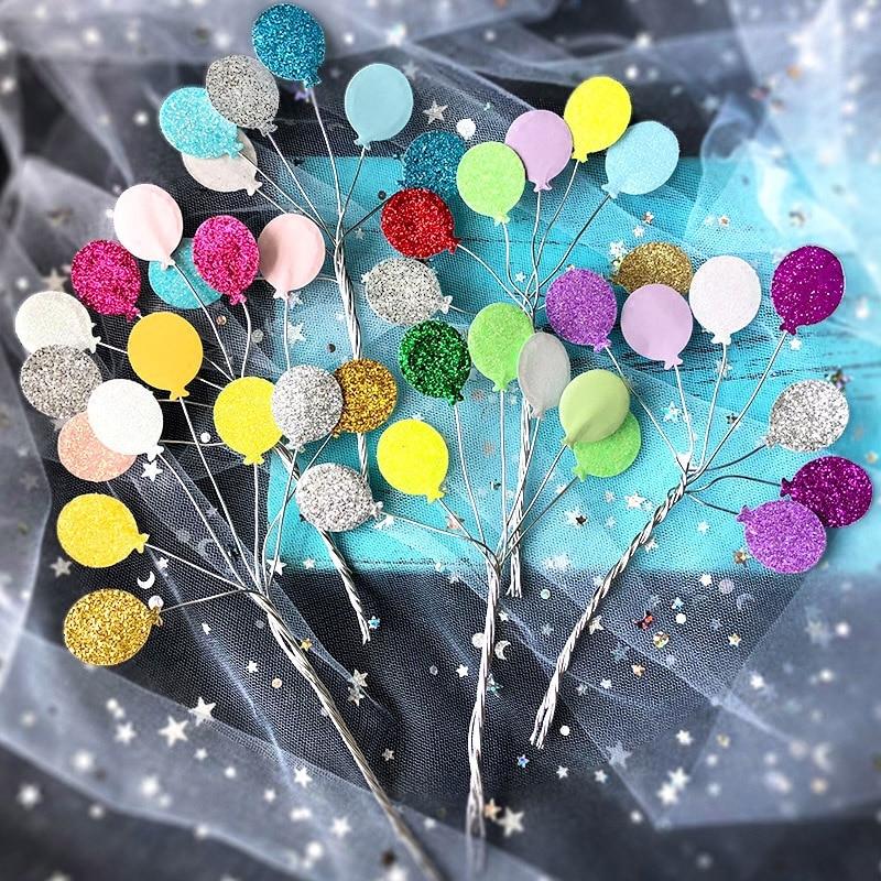 creative glitter little balloon iron cake topper cupcake cake decoration baby shower kids birthday party wedding favor supplies