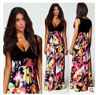 2015 Brand NEW Summer Women Floral Print Chiffon Long Dresses V-Neck Beach Boho Maxi Sundress Plus Size dress - Good quality clothing store